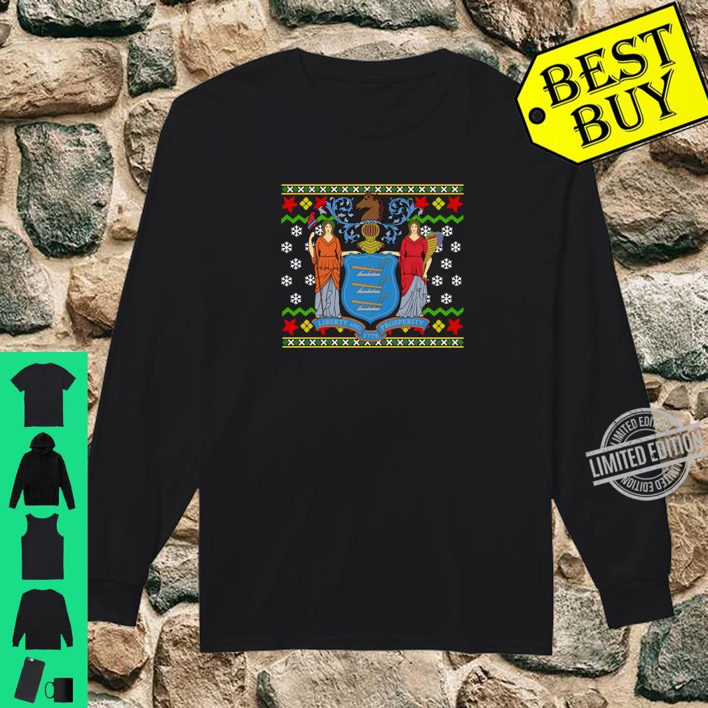 New Jersey Flag Ugly Christmas Pattern Shirt long sleeved