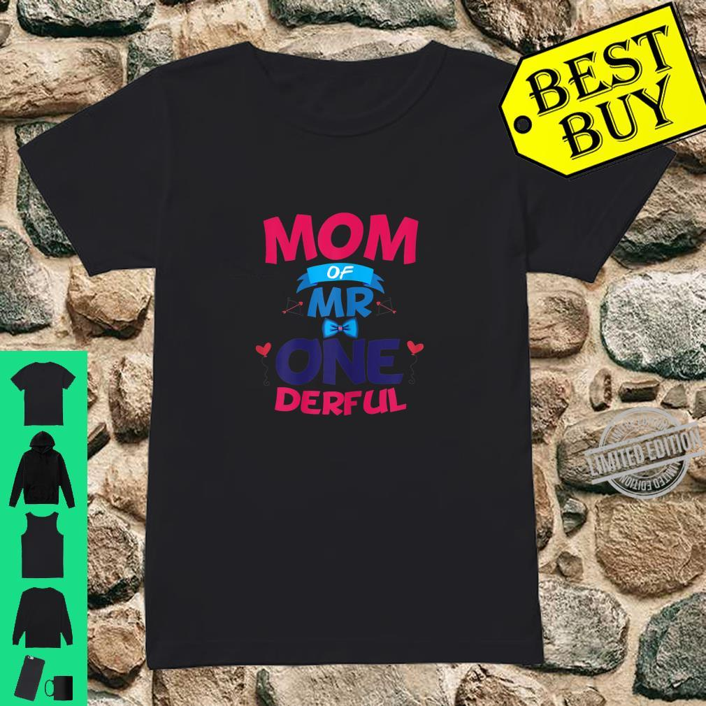 Womens Mother Of Mr One Derful Mom 1 st Birthday Onederful Boy Shirt ladies tee