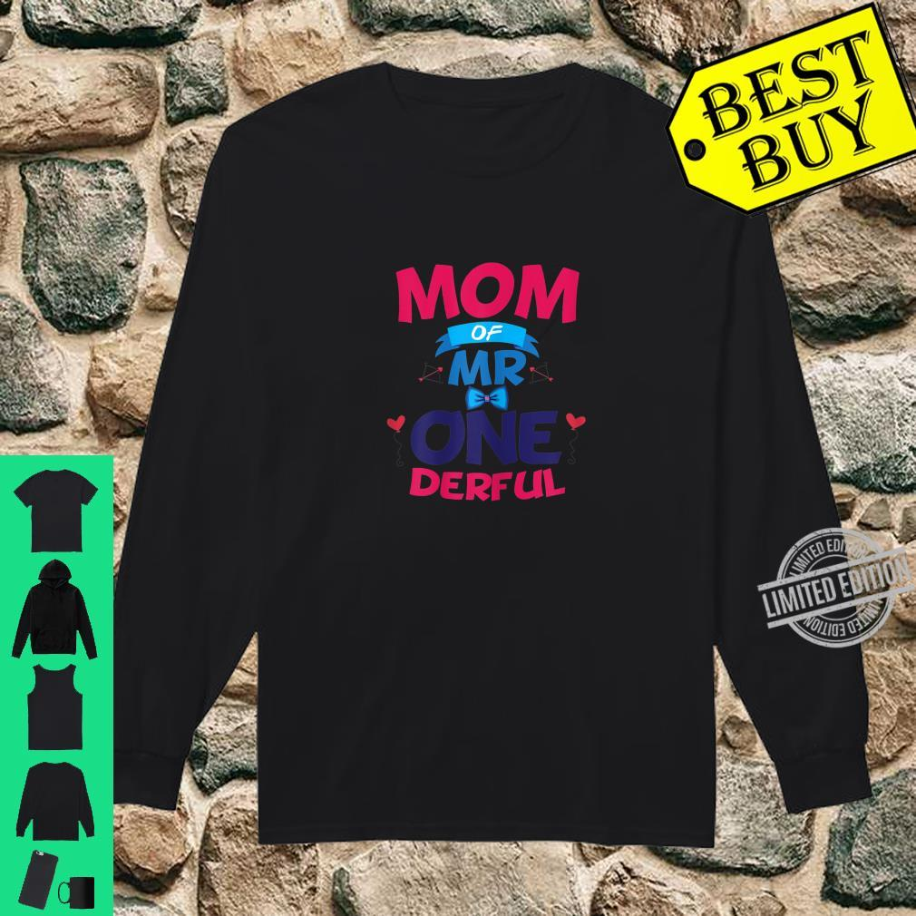 Womens Mother Of Mr One Derful Mom 1 st Birthday Onederful Boy Shirt long sleeved